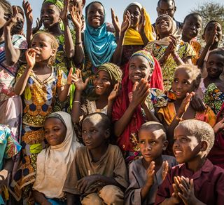 10 December 2016 - Mainé Soroa, Diffa region, Niger. Children clap their hands while performing a song, at Mainé Children Friendly Space.