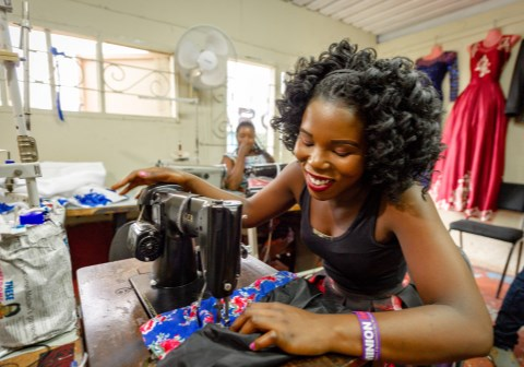 3 May 2019 - Thokozani Pongoloani (18) at the Design School in Blantyre, Malawi.  She came to SOS at the age of 7 years. She developed interest in design after Secondary School. Now she is a learner at the Design School while still staying at SOS. She has sewing machine at SOS. She has two other siblings.  Photo by Cornel van Heerden